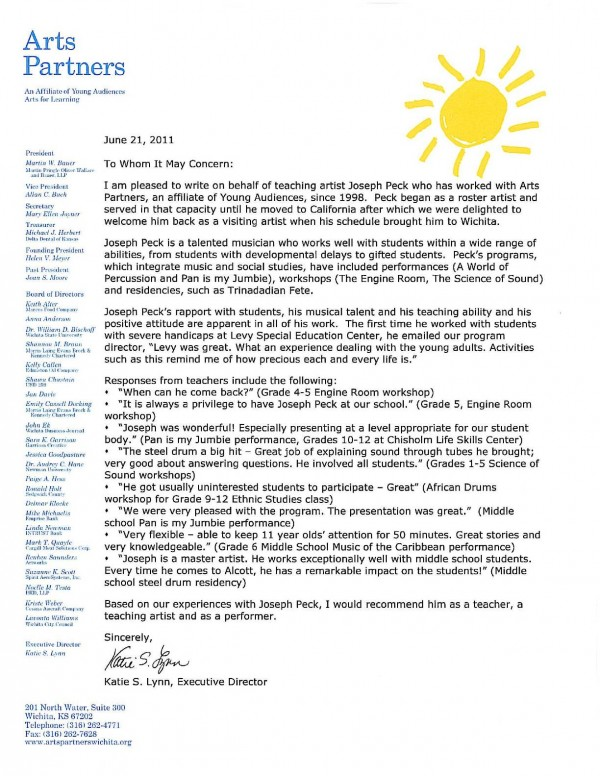 Recommendation Letter from Arts Partners for Joseph Peck